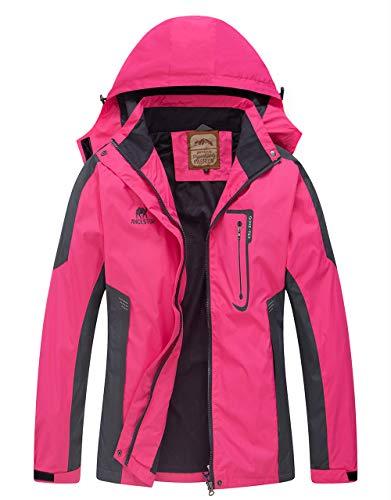 Diamond Candy wasserdichte Regenjacke Damen Leichter Outdoor Regenmantel mit Kapuze für Wandern, Damen, hot pink, 10-12 US(Label Size L)