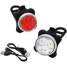 Bicicleta de la luz trasera de la linterna recargable de la luz a prueba de agua y Seguridad de la lámpara de advertencia Noche Ciclismo -Montaña bicicleta MTB USB, iParaAiluRy