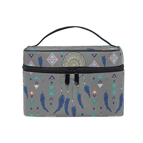 Bolsa de Maquillaje Atrapasueños de Colores con Plumas de pájaro y Figuras geométricas Estuche cosmético con asa portátil en la Parte Superior T