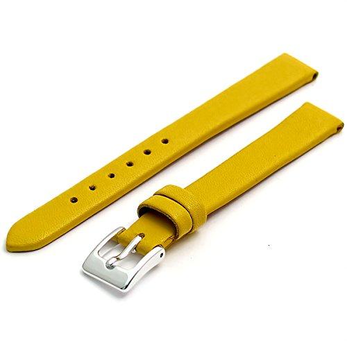 Feines Kalb Leder Uhrenarmband Band 14mm gelb mit Chrom (Silber Farbe) Schnalle. KOSTENLOSE Spring Bars (Armbanduhr Pins)