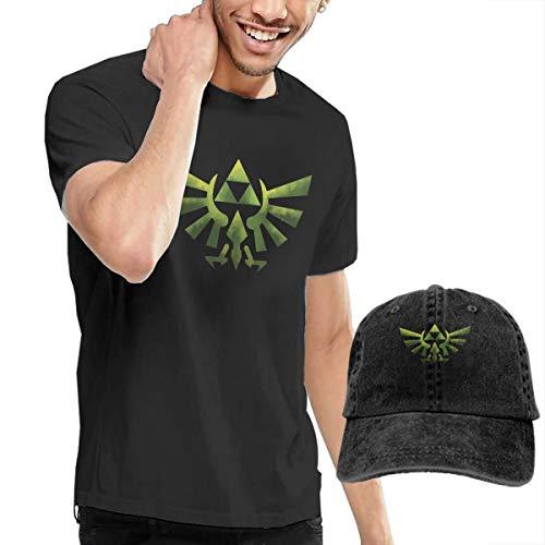 Knitkee The Legend of Zelda Wind Waker Herren Klassisch T Shirt and Mützen Kombination Black S