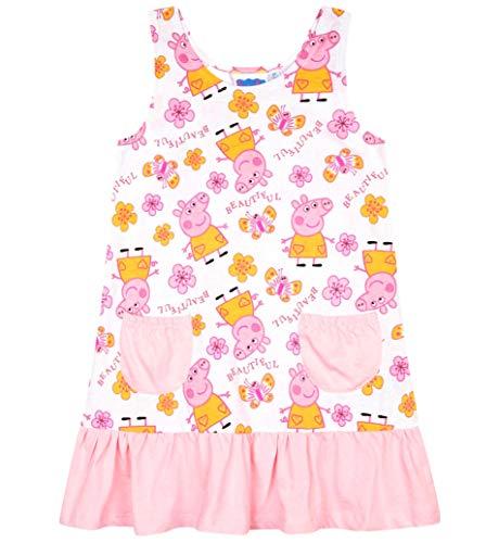 Peppa Wutz Kleid Mädchen Kurz Peppa Pig (Weiß-Rosa, 110-116)