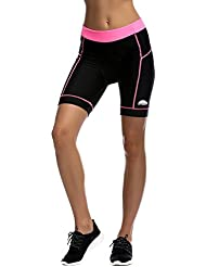 iCreat Damen Fahrradhose Radhose Kurz Radlerhose Radshort Sporthose mit Sitzpolster S/M/L/XL/2XL