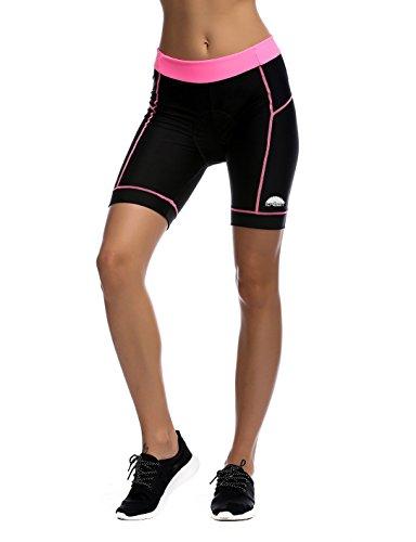 iCreat Damen Fahrradhose Radhose Kurz Radlerhose Radshort Sporthose mit Sitzpolster,rosa,XL