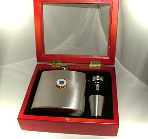 Crystal Palace Football Club 6oz Hip Flask Gift Set- Engraved Free