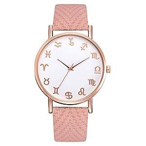 Damen Uhren Beiläufig Süß Mode Leder Band Analoge Quarz Runde Armbanduhr für Frau Freundin Uhr Groveerble