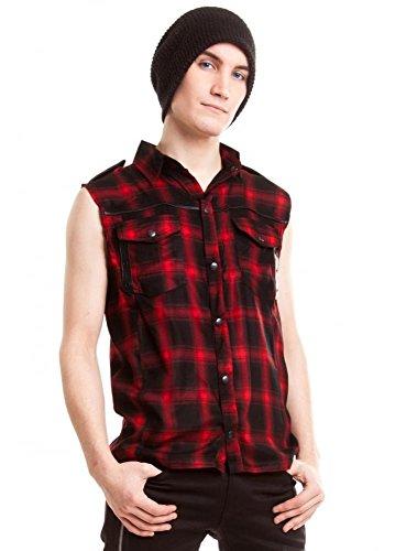Vixxsin Diablo gotico punk rock Camicia da uomo senza maniche a quadretti nero rosso Red X-Large