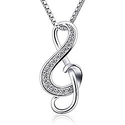 B.Catcher Kette Damen 925 Silber Halskette Anhänger Violinschlüssel Schmuck 45CM Kettenlänge Geschenk für Damen