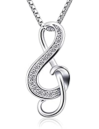 B.Catcher Silver Necklaces Music Note Pendant Necklace S925 Sterling Silver Women Jewellery