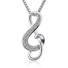 Idea Regalo - B.Catcher collana d'argento nota musicale collana con pendente S925 da donna gioielli