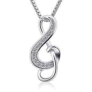 B.Catcher Halskette Kette Anhänger 925er Silber Notenschlüssel Music Damen Schmuck 45CM Kettenlänge Valentinstag Geschenk