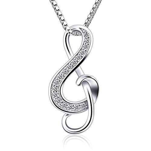 B.Catcher Kette Damen 925 Silber Halskette Anhänger Note Music Notenschlüssel Schmuck 45CM Kettenlänge Geschenk für Damen (Kette Halskette Damen)