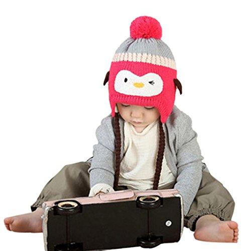 Babybekleidung Hüte & Mützen Winter-Baby Kinder WCute Baby Kleinkind Mädchen Jungen Pinguin Pelzkugel gestrickt Winter warme Mütze Cap(40-52CM) (Hot Pink)