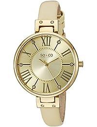 SO & CO New York 5091.1000000000004 - Reloj para mujeres, correa de cuero color beige