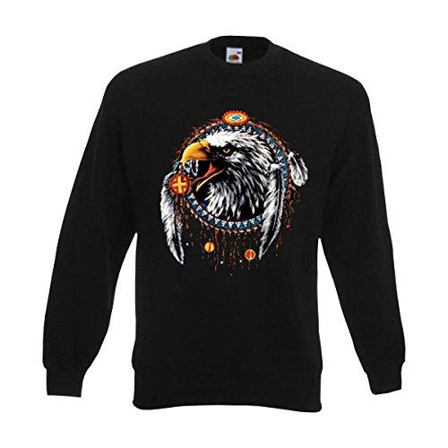Fun T-Shirt Sweatshirt Eagle Dreamcatcher, cool bedruckter american style Sweat Pullover mit Indianer Traumfänger Adler Motiv auch Übergrößen (AIM00119) 4XL American Eagle Sweatshirt