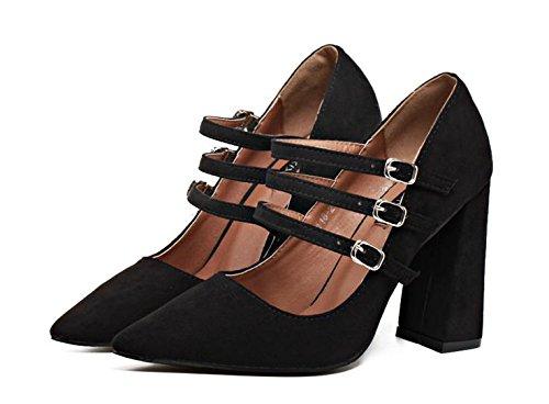 LvYuan-mxx Sandales femmes /Spring Summer / suede / trois Ankle Strap / chunky talon / a souligné toe / confort décontracté /Office & carrière robe/High heels 37-BLACK
