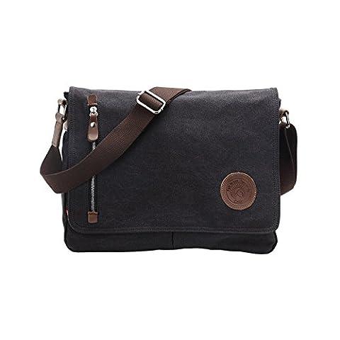 VRIKOO Casual Canvas Satchel Messenger Bag Working Shoulder Crossbody Book Bags for Men and Women (Black)