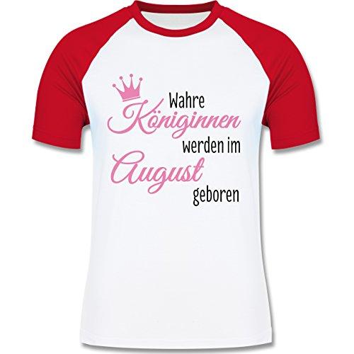 Geburtstag - Wahre Königinnen werden im August geboren - zweifarbiges Baseballshirt für Männer Weiß/Rot