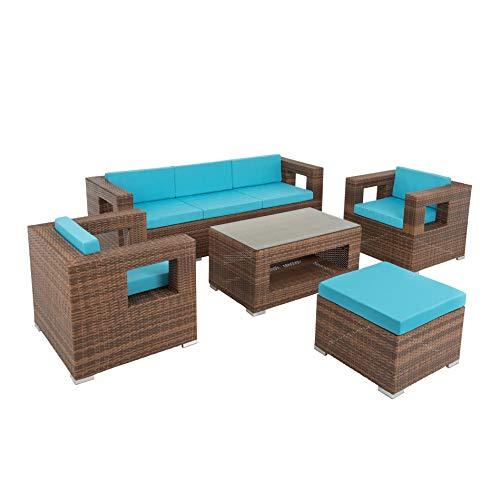 ESTEXO Poly-Rattan Lounge Garten-Möbel Set Sitzgruppe Garten-Lounge Outdoor Garnitur Türkis Braun 6 Personen inkl. Tisch Sessel Hocker Sofa Couch Bank -