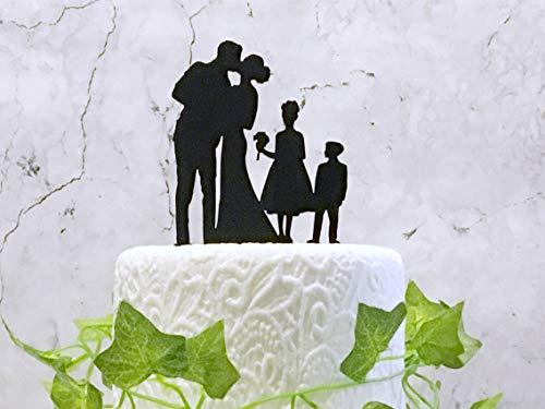 Tortenaufsatz mit Familie Silhouette für Hochzeitstorte und Brautpaar und Kinder, Familien-Silhouette, Tortendekoration, Schwarz