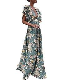 610f7c321f4 Beikoard Bohème Robe Longue Femme Point de Vague Élégante Couleur Unie Sexy  Col en v Split de Mariée Ete Plage Princesse de Soirée…