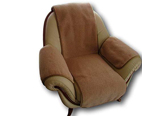 Sesselschoner 3 Teilig, Sesselauflage Überwurf, Lama Alpakawolle 50x200, 40x60-2St