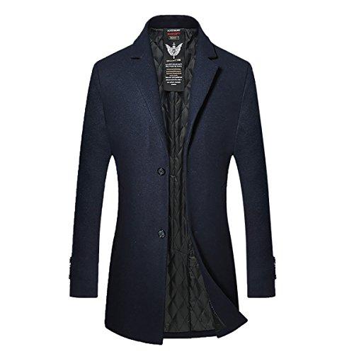 Herren Gesteppte Wollmishcung Mantel Slim Fit von YOUTHUP Navy Blau