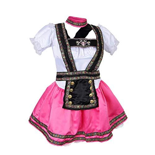Tubayia Damen 3-Schicht Flauschigen Kleid Trachtenkleid Oktoberfest Kostüm für Halloween Karneval ()