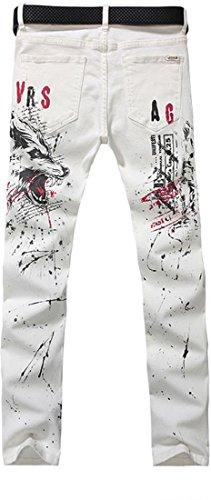 Jeansian Hommes Peinte Stretch Slim Denim Casual Pantalons Mens Painted Pants MJB034 white