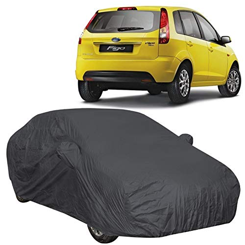 The Autostory 190T Water Resistant Car Body Cover Suitable for Ford Figo Old (2008 to 2014) with Mirror Pockets (Grey/Navy Blue)