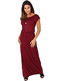 FR3269-WIN-12: Robe Maxi Manches A Ourlets [Rouge,40]