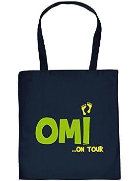 Lustige Einkaufstasche Geschenk Oma : Omi / Omi on Tour - Goodman Design - coole Geschenkverpackung Farbe: navy-blau
