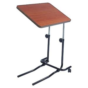 NRS Healthcare M01278 Betttisch mit flachem Standfuß – höhenverstellbar, Tischplatte kippbar bis 45°