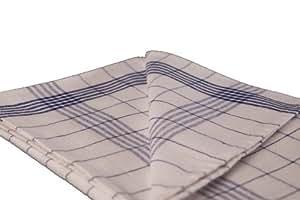 Lot de 10 torchons mi-lin lavables à 95° à carreaux bleu 80 x 60 cm