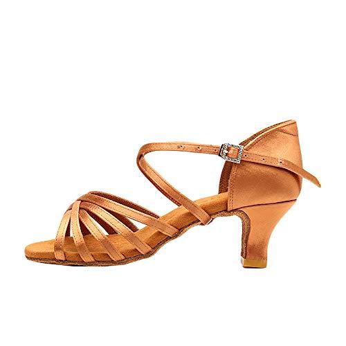 UNNIAO Latein Tanzschuhe Damen Lateinische Ballsaal Schuhe Ausgestellte Fersen Sandalen für Salsa Tango Gold/Schwarz, Gold, 38 EU