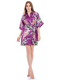 Bata Kimono Floral,Bata Corta Vestido de Satén Albornoces Personalizados Mujeres Bata de Seda Dama