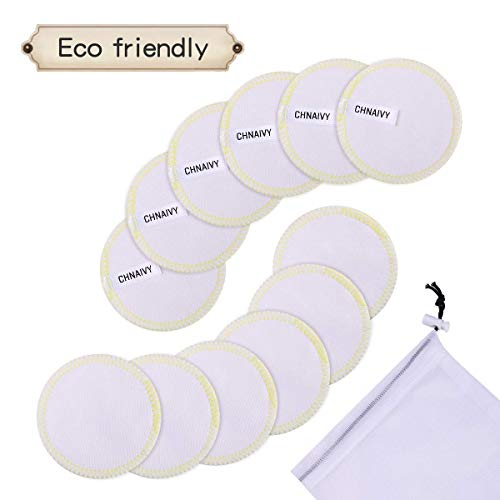 Baumwolle Pad (Chnaivy Waschbare Abschminkpads,12 STÜCK 3 Schichten 100% Baumwolle Makeup Entferner Pads mit Wäschebeutel,Waschbar und Wiederverwendbare Weiche Gesichts Pads Zero Waste Nachhaltige Abschminktücher)