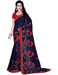 Swadesi Stuff Women's Chanderi Cotton Embroidered Saree With Blouse Piece