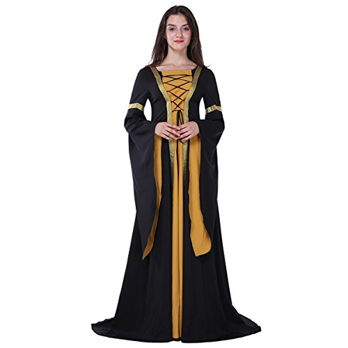 Dreamworldeu Damen Women Medieval Princess Fancy Sexy Witch Long Costume Halloween Cosplay Dress MARIAN MAIDEN FANCY DRESS (Bäuerin Halloween Kostüm)