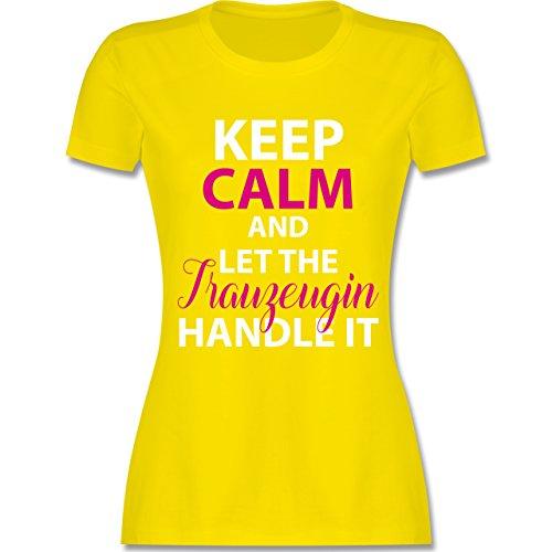 Shirtracer JGA Junggesellinnenabschied - Keep Calm Trauzeugin - Damen T-Shirt Rundhals Lemon Gelb