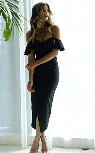 Angashion Damen Kleid Abendkleid Schulterfreies Cocktailkleid Jerseykleid Skaterkleid Knielang V-Ausschnitt Partykleid Schwarz