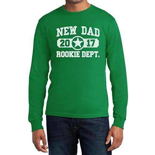 New Dad 2017 Rookie Dept/Anfänger- Neuer Papa Langarm T-Shirt Grün