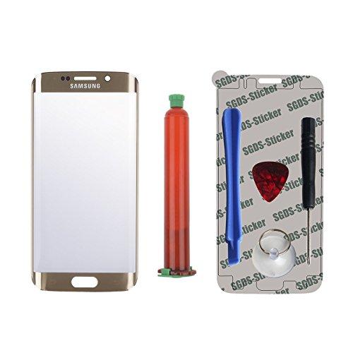 Frontglas Display Ersatzglas Frontscheibe Displayglas inkl. Werkzeug Klebepad UV Kleber für Samsung Galaxy S6 EDGE Gold