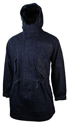 Veste homme denim jeans capuche pardessus doublés en polaire longueur 3/4
