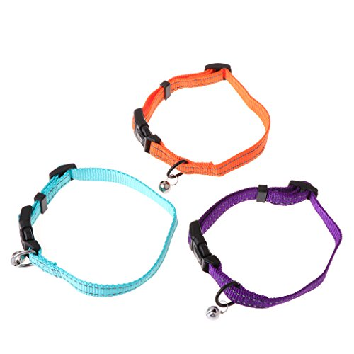 NKYSM Collar para Mascotas Ajustable Anti pulgas Reflectante con Campana de Seguridad para Gatos, Perros, Cachorros