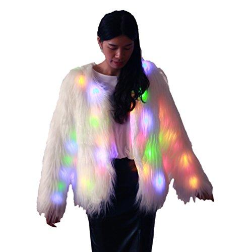 LED leuchten Outwear Warm Flauschige Faux Lange Pelz Mantel Frauen Jacke Mädchen Weihnachten Kostüm M ()