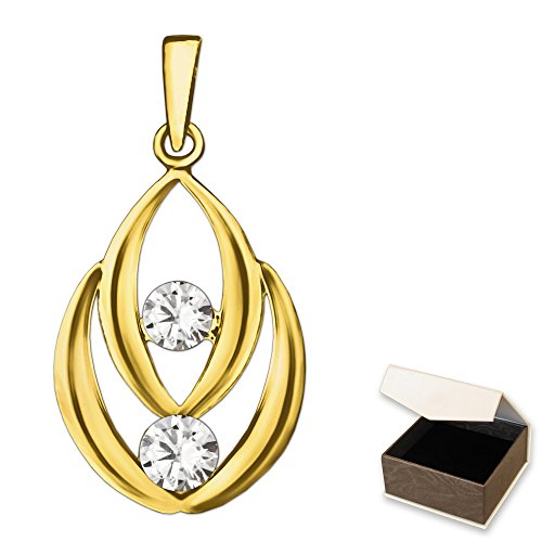 CLEVER SCHMUCK Goldener Anhänger Linse oval 2-fach mit 2 Zirkonias übereinander glänzend 333 GOLD 8 Karat
