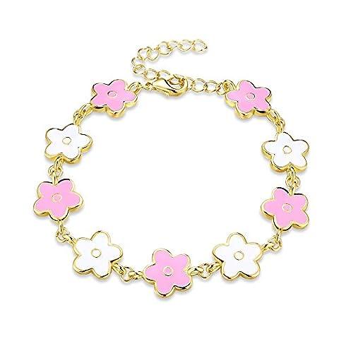 FushoP verstellbare Blumen Bunte Charme Armband für Mädchen (Vergoldet)