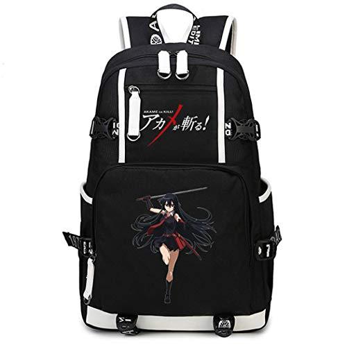 Cosstars Akame ga Kill Anime Backpack Schüler Schultasche Laptop Rucksäcke Freizeittasche Daypack Schwarz-3