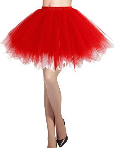 Dresstells Damen Tüllrock 50er Rockabilly Petticoat Tutu Unterrock Kurz Ballett Tanzkleid Ballkleid Abendkleid Gelegenheit Zubehör Red S